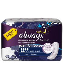 Always Discreet for Sensitive Bladder Maxi Night Pads 4x6 Carton