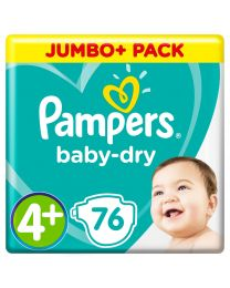 Baby Dry Size 4+ Maxi+ 9-18kg Jumbo Pack (76 Nappies). Twin Pack