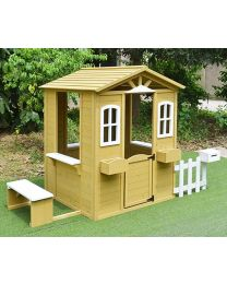 Teddy Wooden Cubby House with Picket Fence and Floor
